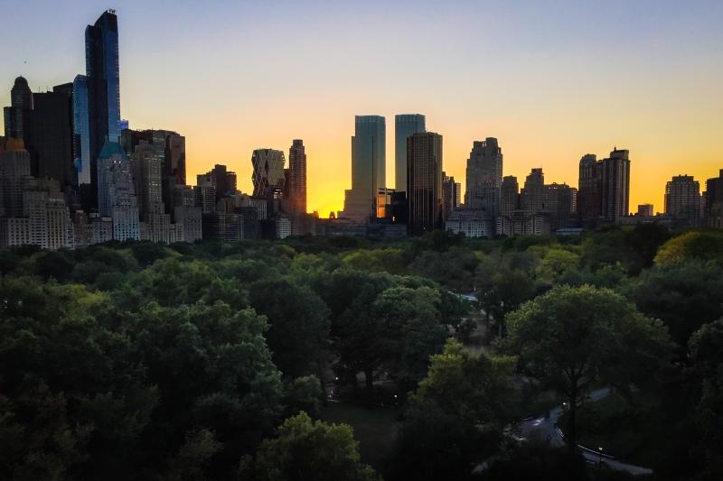 Central park at dusk.